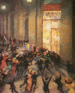 Rissa in Galleria-Boccioni, 1910. Questo quadro non sarebbe stato mai realizzato senza l'illuminazione in Galleria