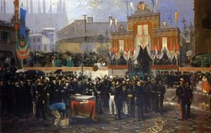 Domenico Induno- La collocazione della prima pietra della Galleria Vittorio Emanuele, 1865