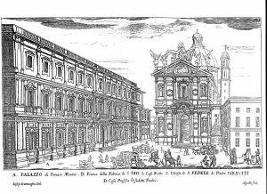 Vecchia stampa riproducente il prospetto su Piazza S. Fedele, per secoli la facciata principale del palazzo