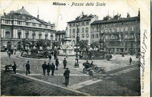 Veduta di Piazza Scala ancora con gli antichi edifici delle Case Rotte (cartolina d'epoca)