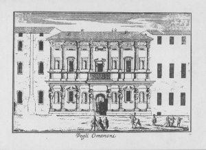 Antica stampa con una veduta del prospetto della Casa degli Omenoni