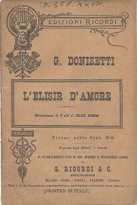 Copertina del libretto de l'Elisir d'amore di Donizetti