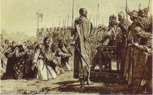 Le autorità milanesi chiedono clemenza davanti a federico Barbarossa
