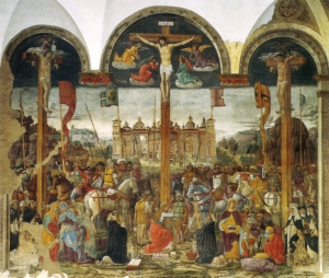 La ricca narrazione nella Crocefissione del Montorfano nell'altra parete corta del Refettorio