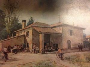L'antica osteria Il Bagutto ritratta in un vecchio dipinto, riprodotto sul menù di oggi