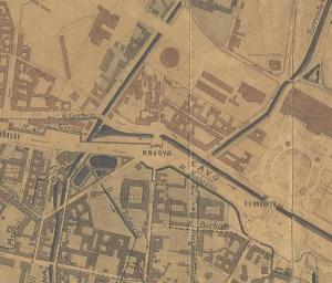 Punto di origine del Redefossia porta Nuova, all'inizio dell'attuale Porta Nuova, in una mappa del 1884