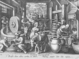 Antica incisione raffigurante un vecchio frantoio, simile a quello che doveva esserci nella via del Torchio.