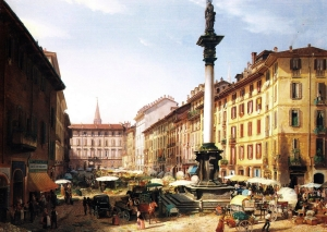 Veduta del Verziere (attuale largo Augusto) 1852, dipinto di Angelo Inganni.