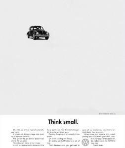 """Think Small.... GRANDISSIMA pagina pubblicitaria, """"slogan"""" che ha lasciato il segno"""