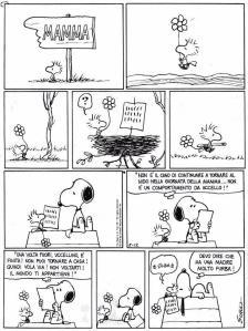 Una deliziosa vignetta dei Peanuts sul tema della separazione tra genitori e figli