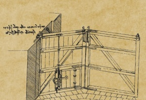 Disegno di Leonardo da Vinci con il portone della chiusa e i portelloni secondari della Conca di S. Marco (particolare dal Codice Atlantico)