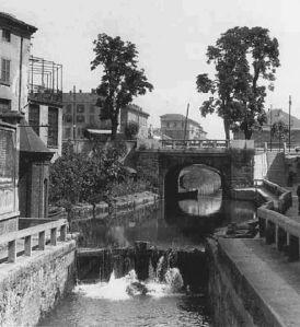Il Naviglio di S. Marco presso la Conca dell'Incoronata in una foto deglia anni'50